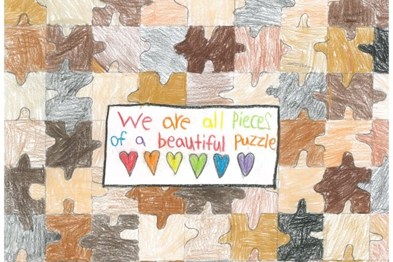 Kyla Maher's poster won first place in the Grades 4-6 category in the 2021 Sharing Our Cultures anti-racism poster contest. — CONTRIBUTED - Contributed
