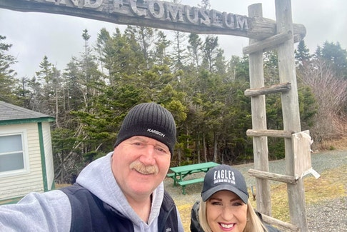 Loretta Lewis, chair of the Burin Peninsula Health Care Foundation's board of directors, kicked off the trails challenge on Sunday with her husband, Wassel.  CONTRIBUTED