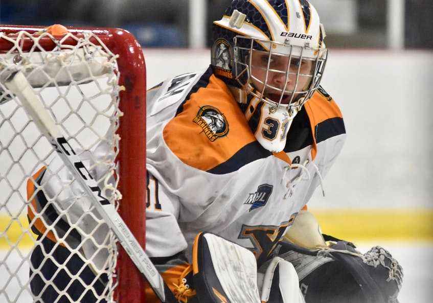 Goalie Justin Sumarah has been stellar between the pipes for the Yarmouth Mariners. TINA COMEAU PHOTO - Tina Comeau