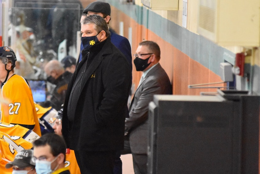 Masks have been worn on the benches all season by coaching and team staffs in the MHL league.  TINA COMEAU PHOTO - Tina Comeau