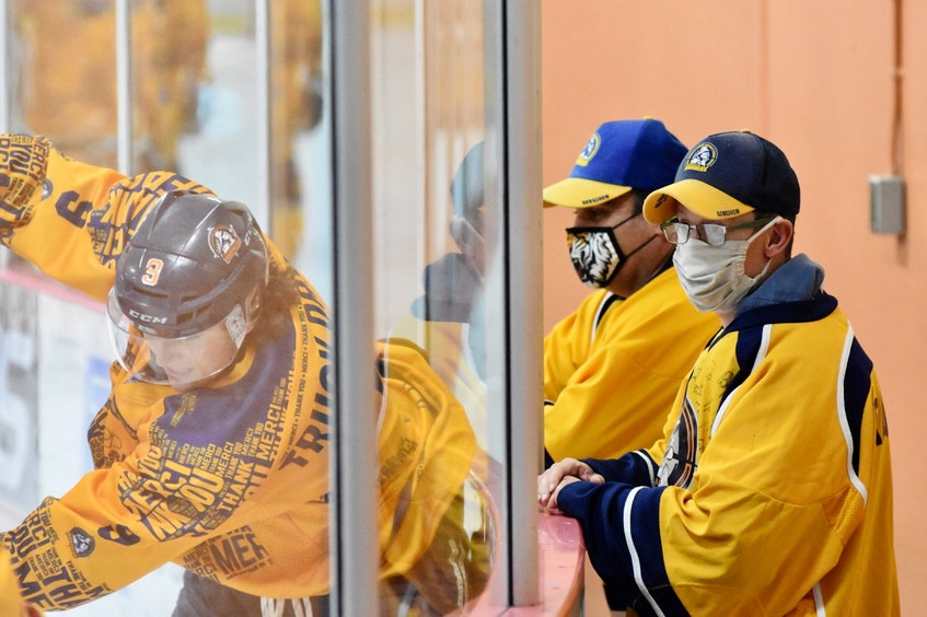 Early on in the season players in the league had worn 'Thank you' jerseys as a way of showing gratitude to first responders and front-line and essential workers during the COVID pandemic. TINA COMEAU PHOTO - Tina Comeau