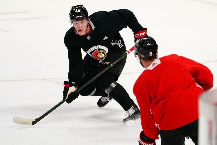 Jacob Bernard-Docker skates during his first full practice with his new Ottawa Senators teammates.