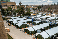 A tent city has been erected in the parking lot of Toronto's Sunnybrook hospital to handle a surge in COVID-19 cases.