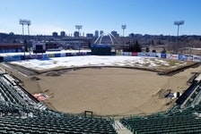 Construction on the infield at Re/Max Field continues as  the Edmonton RIverhawks are having their inaugural season pushed to 2022 due to COVID restrictions.