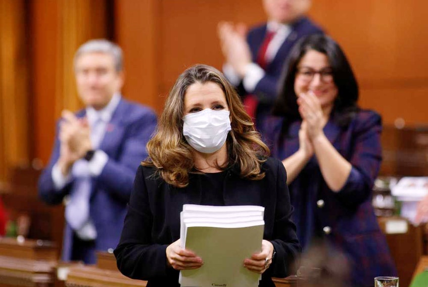 Canada's Finance Minister Chrystia Freeland delivers her first fiscal update, the Fall Economic Statement 2020, in the House of Commons, in Ottawa Nov. 30, 2020.