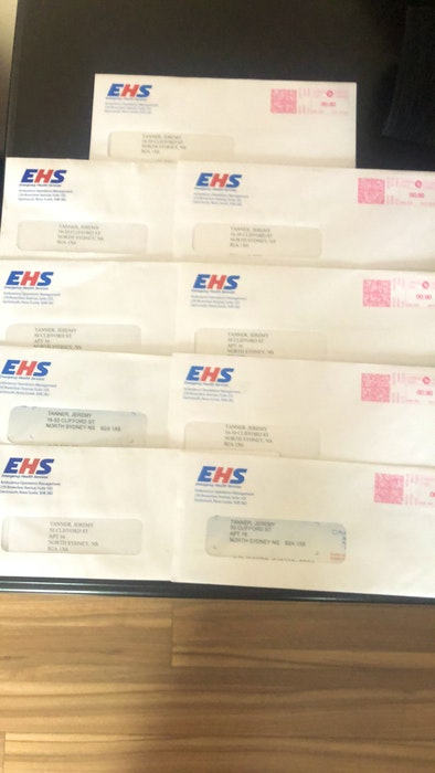 Nine unopened bills from Emergency Health Services (EHS) for ambulances Jeremy Tanner took when having a psychotic episode over a two-week period last fall. A possible indication of how poor his mental health was at the time without the antipsychotic medication he had been using for years before. CONTRIBUTED