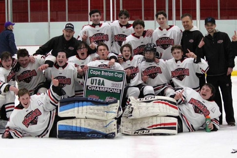 The Glace Bay Miners captured the Under-18 Cape Breton Cup title with a 4-2 victory over the Cape Breton County Islanders in the league championship game at the Cape Breton County Recreation Centre in Coxheath on March 22. Members of the team, in no particular order, Noah MacAulay, Michael O'Neil, Josh Musial, Braeden Hogan, Jack Young, Dayton Cosnick, Ryan Ellsworth, Ethan MacAulay, Kolby Campbell, Zach Wilcox, Matt Jewells, Jacob Routledge, Carter MacNeil, Caleb Nearing and Michael MacLean. Coaches include Darrell MacAulay, Michael Routledge, Terry Wilcox and Mac MacDougall. The team's manager is Shelley Nearing. CONTRIBUTED • DARRELL MACAULAY