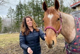 Janine Dixon with Eveline, one of her four horses. Dixon is building a 200'x80' facility for her business, Oak Ridge Equestrian Inc., which she hopes to open early this summer in Gavelton, Yarmouth County. CARLA ALLEN•TRICOUNTY VANGUARD