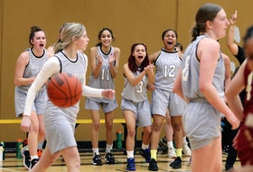 The Dartmouth bench erupts after the Spartans scored a basket against the Citadel Phoenix during third-quarter action of the Capital Region girls' basketball championship Tuesday at Dartmouth High. - Eric Wynne / The Chronicle Herald