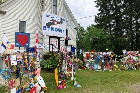 A memorial to the 22 people murdered by one person last year in several small Nova Scotia communities was built at a former church building along the main road leading into Portapique, Colchester County last year. Contributed • Rosemary Godin