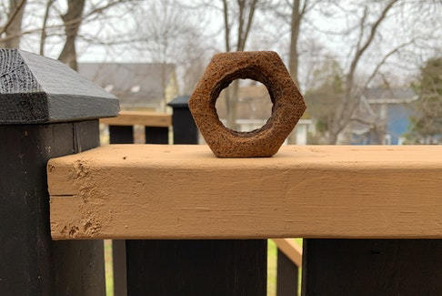 Yes, it's a big rusty bolt. About half the size of your fist. — Russell Wangersky/Saltwire Network