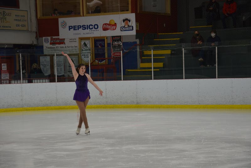 Aine McGuire of the Tyne Valley Skating Club completes her performance during the STAR 2 event of the Prince Edward Island Amalgamated Dairies Limited (ADL) STARSkate championships in Kensington on April 3. - Jason Simmonds