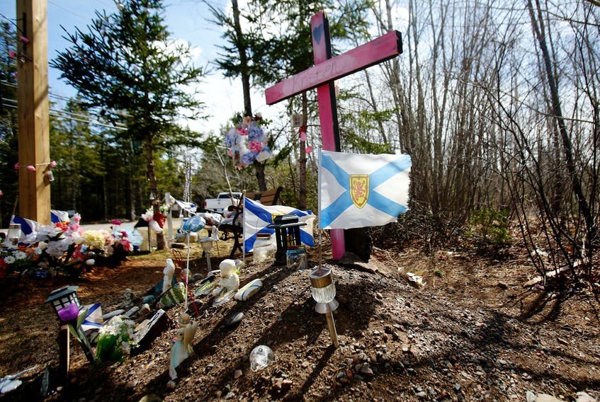 FOR MASS SHOOTING ANNIVERSARY COVERAGE: Part of the memorial for Kristen Beaton, one of 22 people killed in the Nova Scotia mass shooting, is seen on Plains Road in Debert, NS Wednesday April 14, 2021.  TIM KROCHAK PHOTO