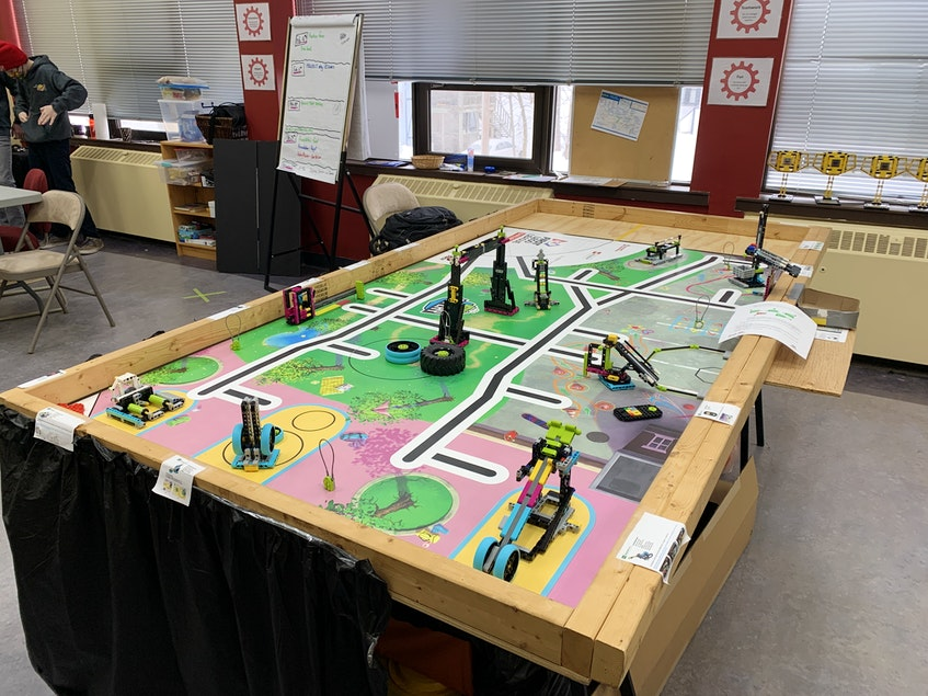 This is an example of a LEGO® robotics table. – Contributed