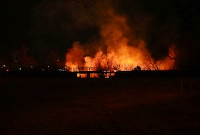 Firefighters were dispatched to this bridge fire in Kentville shortly after 11:15 p.m. on April 13. – Adrian Johnstone