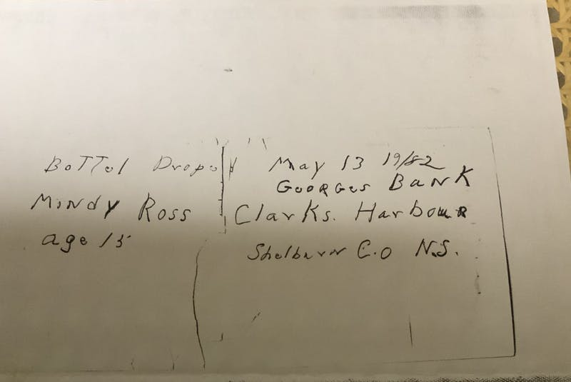 A copy of the message in the bottle sent, presumably by Mindy Ross's father, while he was fishing on the Georges Banks close to four decades ago. - Saltwire network