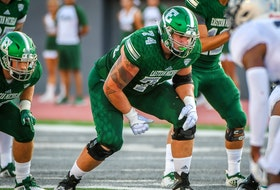 With the flag of Denmark prominently tattooed on his right arm, Eastern Michigan offensive tackle Steven Nielsen was taken second overall by the Edmonton Football Team in the 2021 Canadian Football League Global Draft held Thursday, April 15, 2021.