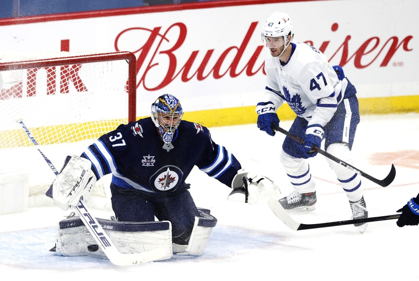 Winnipeg Jets goaltender Connor Hellebuyck  has faced 38 or more shots four times against the Maple Leafs this season.