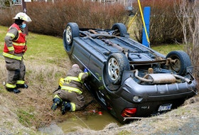 There were no injuries in a single-vehicle rollover in St. John's Thursday evening. Keith Gosse/The Telegram