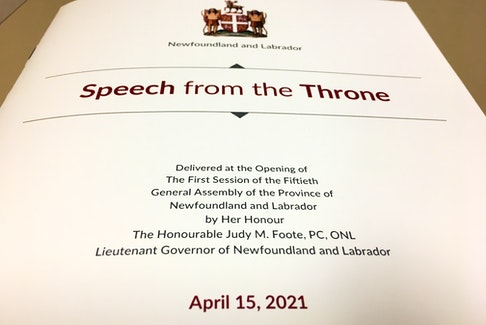 Lt.-Gov Judy Foote delivery the speech from the throne for the newly-formed Andrew Furey-led Newfoundland and Labrador government.