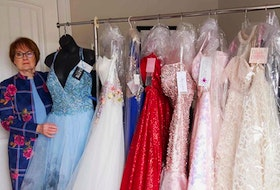 Judi Kennedy of Centreville has a large collection of prom dresses that she wants to gift to Annapolis Valley students that face potentially missing out on the formal year-end event due to their family's economic circumstances. – Contributed