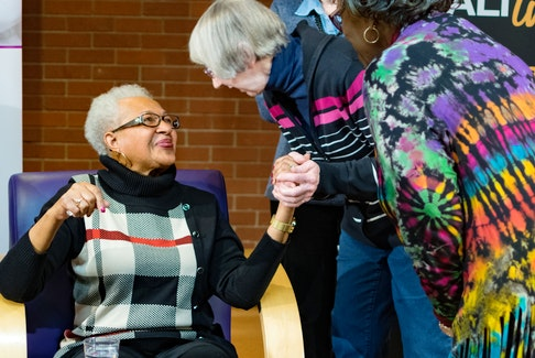 Clotilda Douglas-Yakimchuk speaks to some women after her presentation at the Halifax North Memorial Public Library on Feb. 20, 2018, for African Heritage Month. Yakimchuk was one of the first Black nurses in Nova Scotia and the only African Canadian to ever serve as president of the Registered Nurses Association of Nova Scotia. CONTRIBUTED