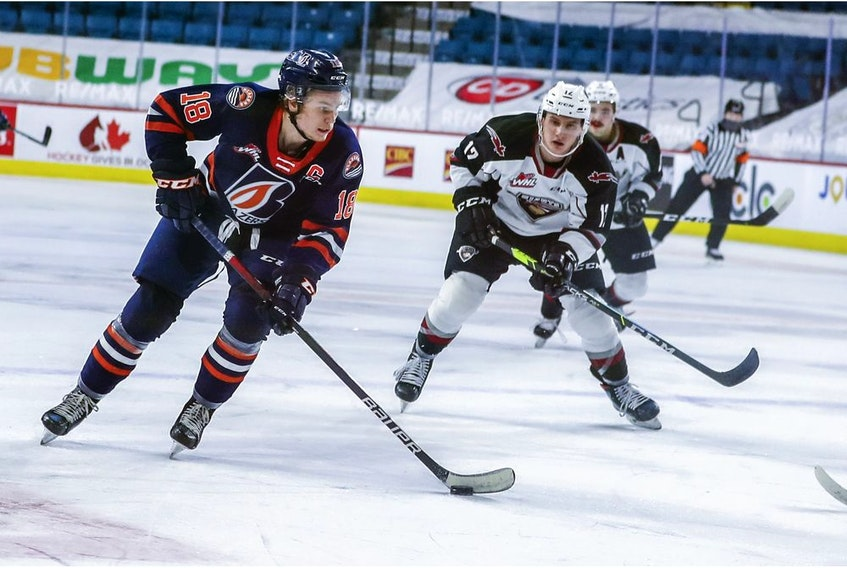 Calgary Flames first-rounder Connor Zary (left) is serving as captain of the Western Hockey League's Kamloops Blazers in 2021. Allen Douglas/Kamloops Blazers