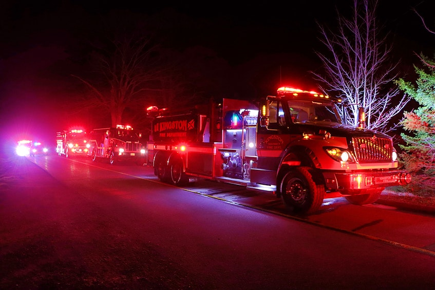 Fire departments from Nictaux and Aylesford provided mutual aid for the early-morning fire call. – Adrian Johnstone - Contributed