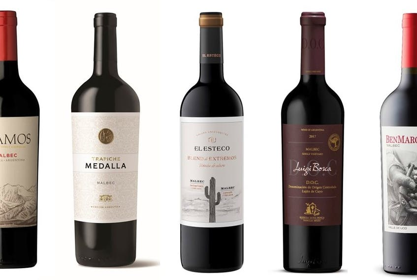 A selection of Malbec available at liquor stores across Atlantic Canada. Photos: Supplied