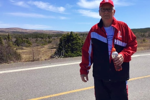 Bill Skinner has participated in the MS Society of Canada's MS Walk for the past 26 years and is planning to make it 27 next month. He is pictured on his MS Walk last year.