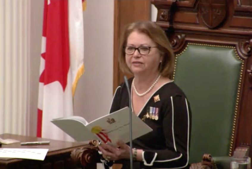 Lt.-Gov. Judy Foote reads the speech from the throne Thursday in the House of Assembly. Screengrab