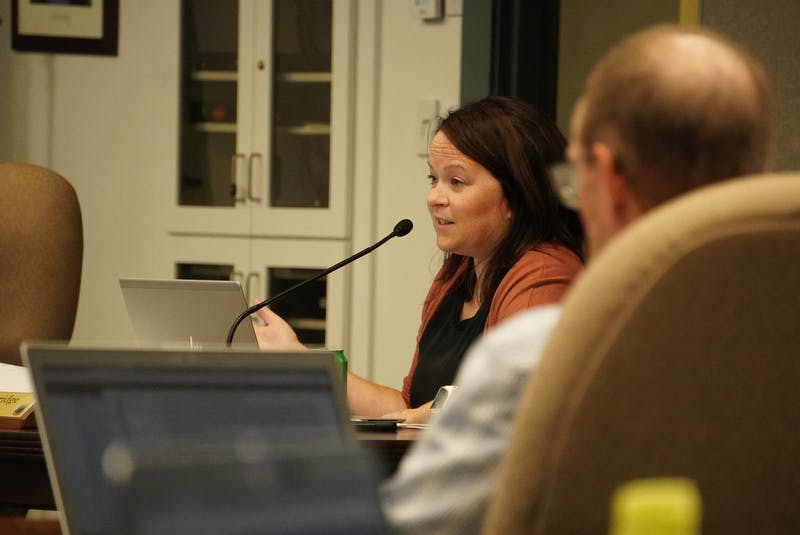 Stratford councillor Jill Burridge speaks during a monthly council meeting at Stratford Town Centre on Sept. 9. - Daniel Brown/Local Journalism Initiative Reporter