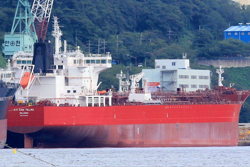Eight crew members of the international STI San Telmo oil tanker anchored off Port Hawkesbury, have tested positive for COVID-19. A spokesperson for the company says they will be remaining at Cape Breton until the situation has been dealt with. CONTRIBUTED