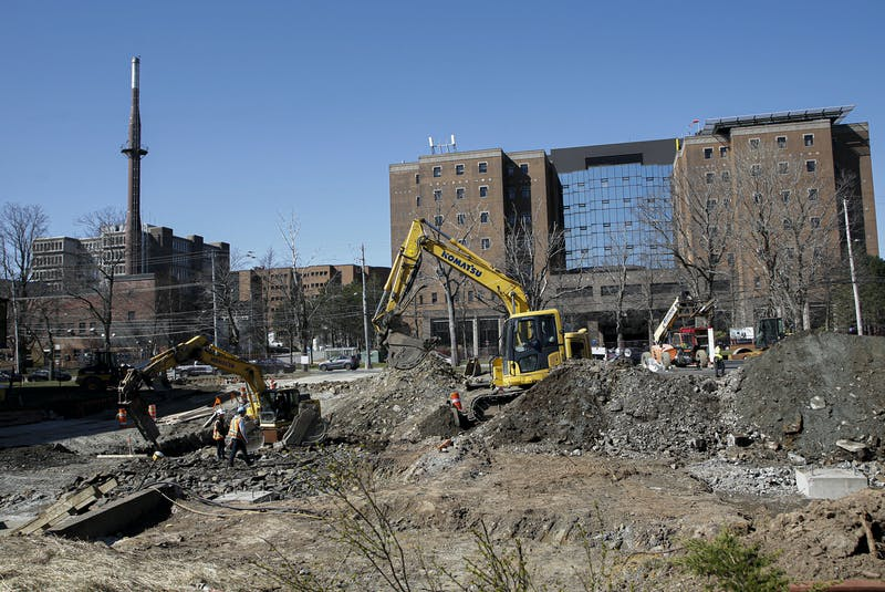 Construction has begun on a parkade across from the Halifax Infirmary and adjacent to the Museum of Natural History, at left, in Halifax, Thursday, April 15, 2021. -- Tim Krochak