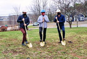 Three Rivers marks the official start of construction of the new administrative building in Montague on April 13 with a sod-turning. Taking part are, from left, Grant MacPherson of WM&M Ltd., Mayor Edward MacAulay and Scott MacNeill of Coles Associates.