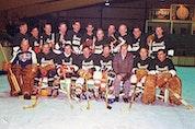 "Truro District Hockey League players in black sweaters, front row, left to right, Bill McNutt, Jack Hepburn, Ronnie Conrad, Ronnie Fielding, Ivan Weatherbee, coach Chet Totten, Gerald ""Chub"" Bartlett and Hughie Hutchinson. Back row, Jackie Dale, Billy Hepburn, Lick MacDonald, Jack Cameron, Les Topshee, Larry Ward, Gordie  Blair, Doug Pender, Keith Miller, Gordie Lynds and Dick Huggard."