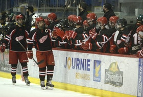 Arsenault's Fish Mart Western Red Wings captain Chandler Wood celebrates the opening goal of Wednesday's game with his teammates at the Eastlink Centre.