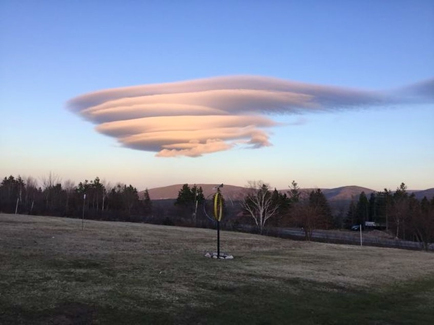 Here is what the saucer-like cloud looked like from Cape North, Cape Breton.  The curious cloud caught Marie Fitzgerald's attention; she snapped this great photo. - contributed
