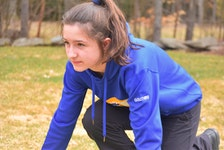 Truro Lions' short-distance sprinter Isabella Gouthro demonstrates her stance when setting up in the blocks for a race. She was recently recognized for her sportsmanship by Sport Nova Scotia.