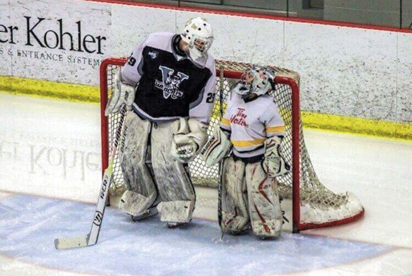 Cole McLaren grew up watching the Mooseheads and the Valley Wildcats just like this younger goalie. - Contributed