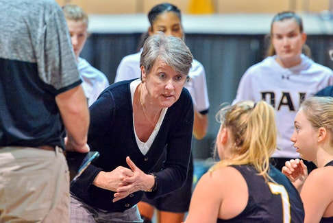 Trevor MacMillan Photo/Courtesy of Dalhousie University Anna Pendergast-Stammberger addresses the Dalhousie Tigers during a timeout in an Atlantic University Sport women's basketball game. The Kensington native recently retired after 12 years as Tigers head coach.