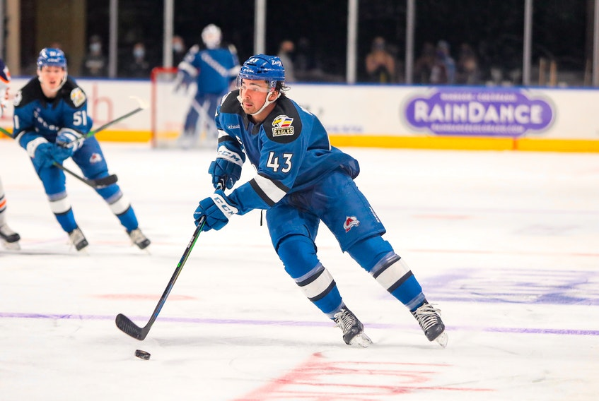Alex Newhook (43) made his professional hockey debut in two games with the American Hockey League's Colorado Eagles this week, both against the Bakersfield Condors, The 19-year-old Newhook scored his first pro goal in a rematch Wednesday night in Loveland. Colo. — Colorado Eagles photo