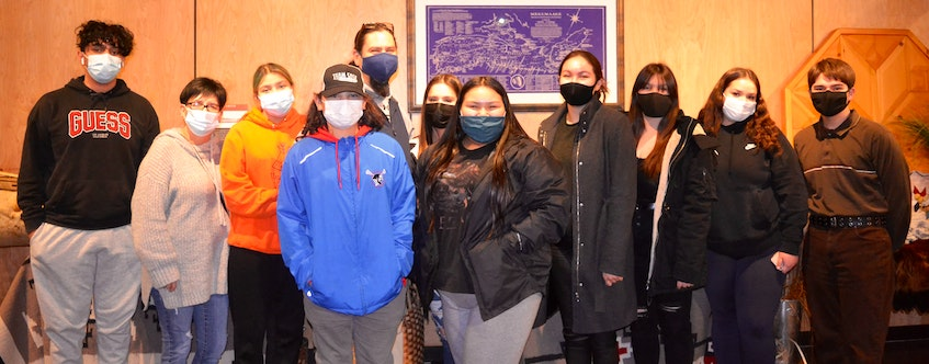 Membertou's youth chief and council have tried to make the most of a year of COVID-19 restrictions. From left, Mohamed Chekambo, Eileen Paul (mentor), Anastasia Kabatay, Dante Googoo, Jeff Ward (mentor), Chief Jada Paul, Miracle Johnson, Montana Marshall (mentor), Eliah Marshall, Alexis Christmas, Dante Paul. ARDELLE REYNOLDS • CAPE BRETON POST
