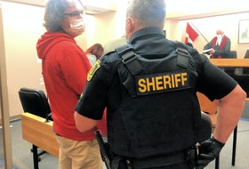Kyle Brown (left) in court during a previous appearance. Telegram file photo
