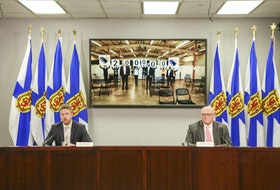 Nova Scotia Premier Iain Rankin and Dr. Robert Strang, chief medical officer of health, hold a COVID-19 news briefing on Friday, April 16, 2021.