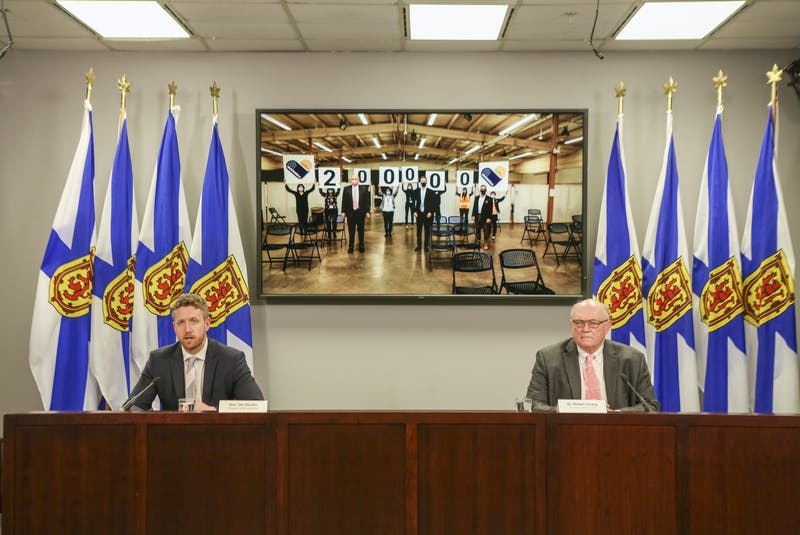 Nova Scotia Premier Iain Rankin and Dr. Robert Strang, chief medical officer of health, hold a COVID-19 news briefing on Friday, April 16, 2021. - Communications Nova Scotia
