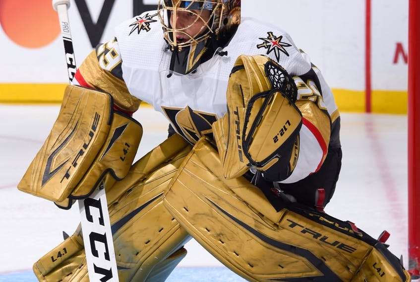 Marc-Andre Fleury passed Ed Belfour for fourth on the NHL's all-time wins list on Wednesday night with his 485th victory. CONTRIBUTED • VEGAS GOLDEN KNIGHT
