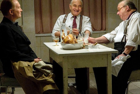 Some chicken! Henrik Kauffmann (Ulrich Thomsen, left) meets FDR and Churchill in The Good Traitor.