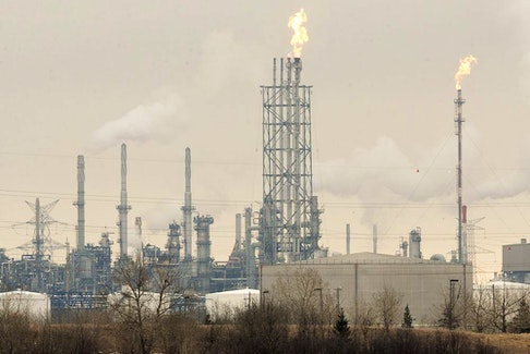 Flaring is visible at the Suncor Energy Edmonton Refinery on March 23, 2017.