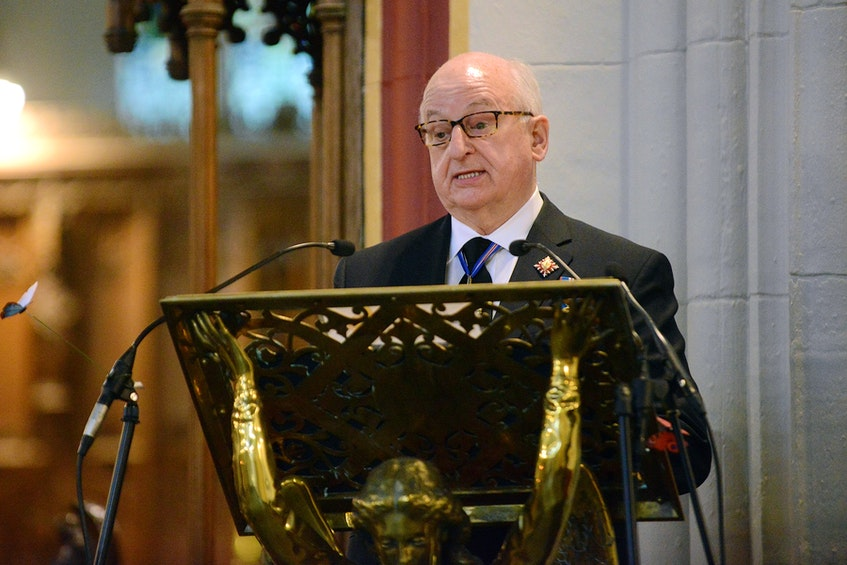 Lt.-Gov. Arthur LeBlanc delivers the eulogy for Prince Philip at the Nova Scotia memorial service held Saturday at Halifax's Cathedral Church of All Saints. - Province of Nova Scotia